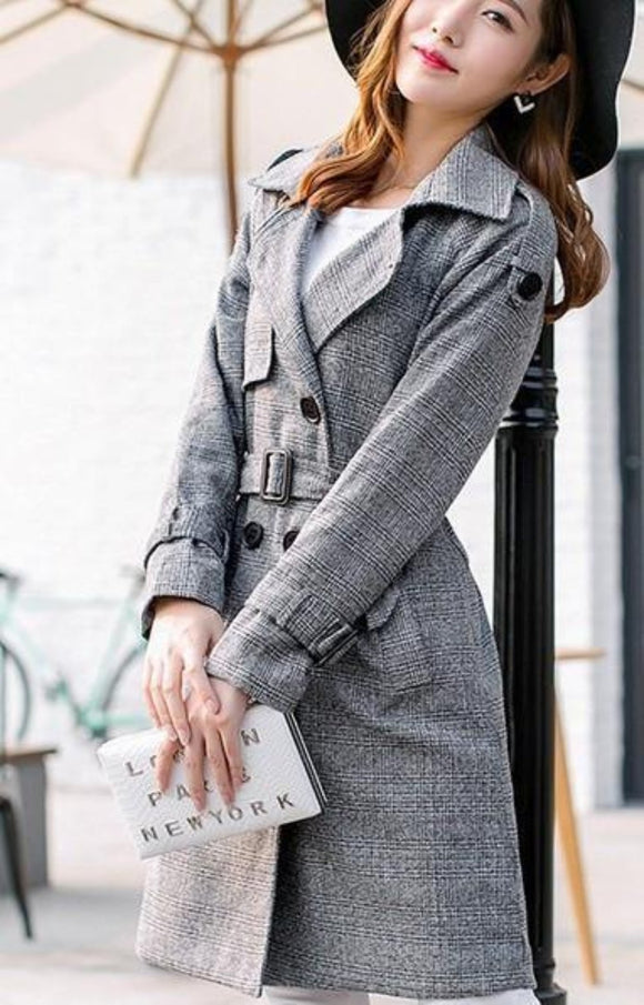 Womens Gray Mid Lenght Double Breasted Trench Coat