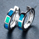 Beautiful Blue Round Fire Opal Earrings 925 Sterling Silver