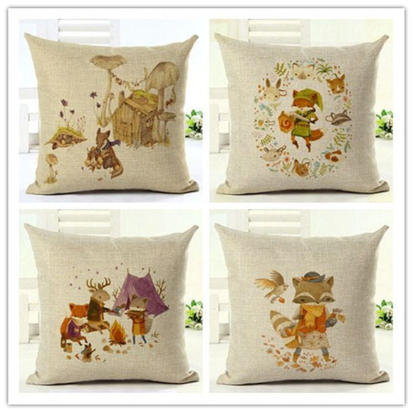 Cute Autumn Animals Pillow Covers