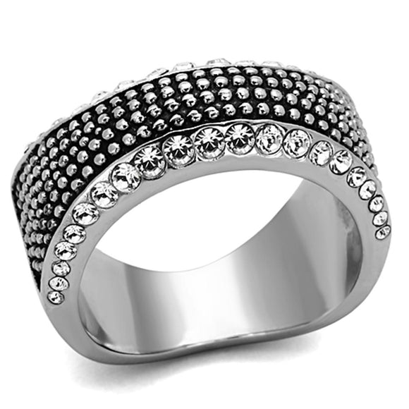 High Polished Stainless Steel Ring With Top Grade Crystal