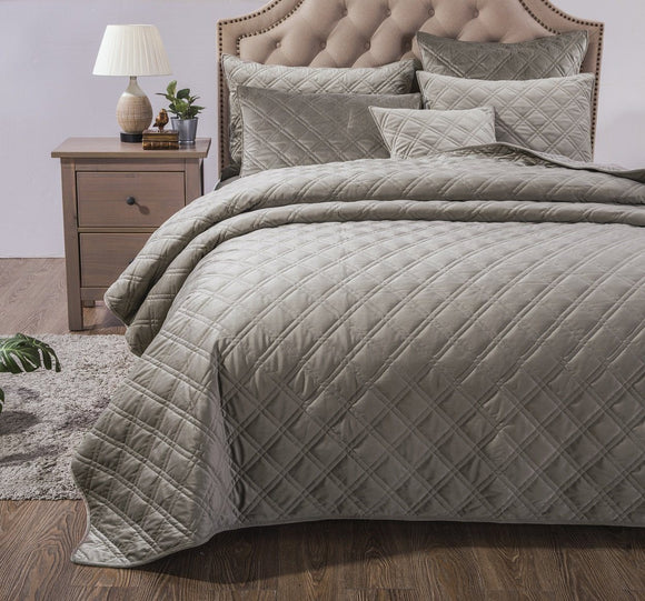 Velveteen Double Sided Quilted Coverlet Bedspread Set, Taupe Grey