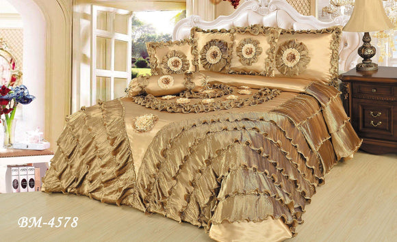 Shiny Golden Sateen Luxury Floral Puffy Ruffles Comforter Set - 6-Pieces