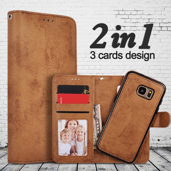 Versatile Magnetic Wallet Detachable Leather Cover Case & Stand For Samsung S7 S6 S6 Edge