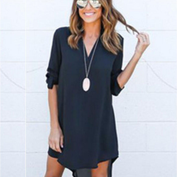 Sexy Women's Long Sleeve Casual Shirt Dress