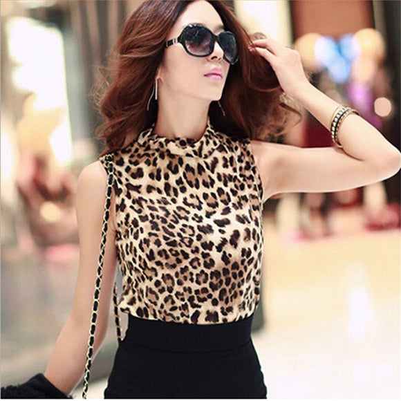Sexy Leopard Cotton Sleeveless Blouse