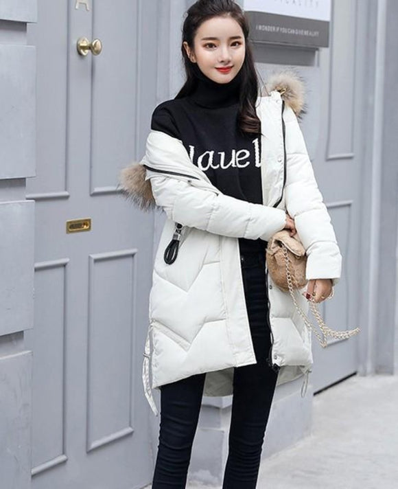 Womens White Casual Puffer Coat with Faux Fur Hood