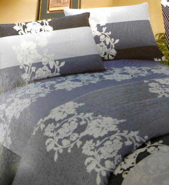 Navy Blue Floral Striped Fitted Flat Sheets & Pillow Cases Set