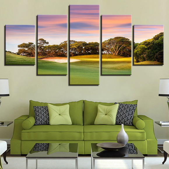 Gorgeous Sunset Ocean Golf Course Modular Pictures Wall Art