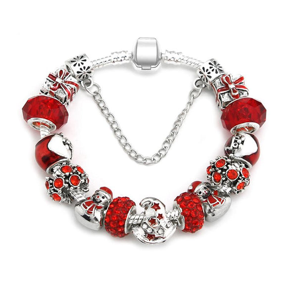 Womens Fashion Christmas Snowman Beads Charm Bracelets
