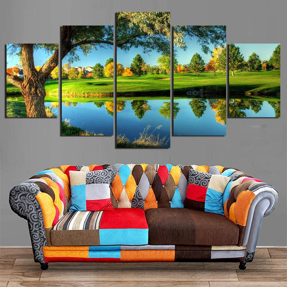Gorgeous Lakeview Golf Course Canvas Painting