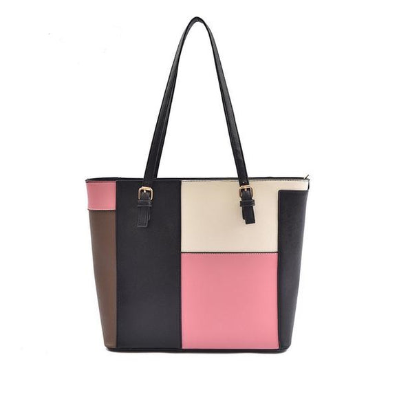 Stylish Patchwork Large Capacity Handbag