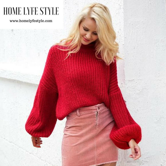 Stylish Lantern Sleeve Sweater