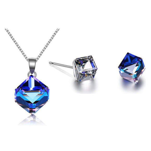 Beautiful Blue Square Crystal Necklace And Earrings Jewelry Set