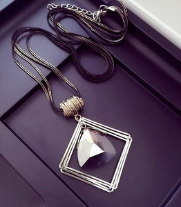 Classy Geometric Crystal Necklace