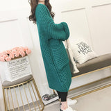Womens Mid Length Chunky Knit Cardigan with Pockets