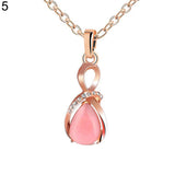 Rhinestone Waterdrop Opal Drop Pendant Chain Necklace