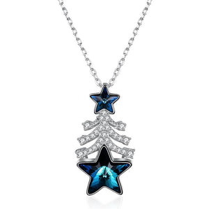 Sterling Silver Christmas Tree Shape Pendant Luxury Crystal Necklace