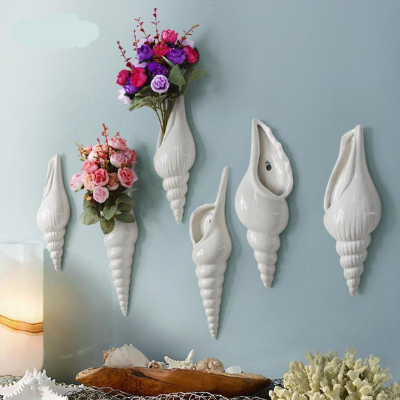 Modern Mural Wall Flower Conch Shell Vase