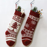 Classic Red Color Woolen Knitted Christmas Hanging Stockings