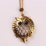Vintage hollow out pendant Bronze Plated Life tree Owl Plated magnifying glass pendant Long Necklaces Jewelry For women