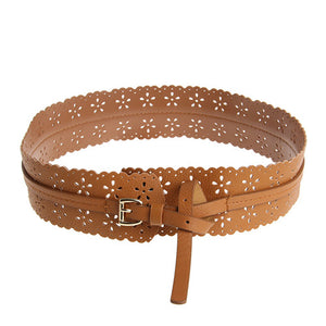 Women's Fashion Retro Faux Leather Flower Waist Belt