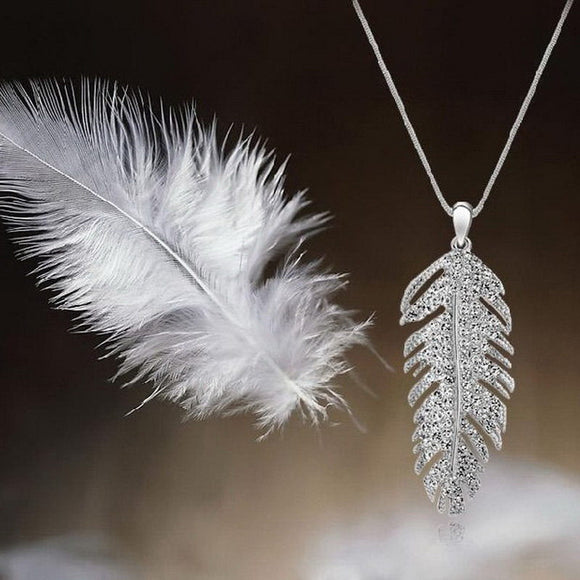 1pc Women's Charming Korean Rhinestone Leaf Crystal Feather Pendant Necklace Love Wings Sweater Chain 2015 Hot Jewelry