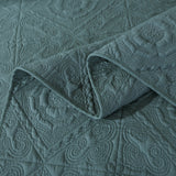 Elegant Floral Earthy Forest Green Cotton Quilted Bedspread Coverlet Set
