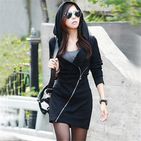 Stylish Long Sleeve Zipper Hooded Coat