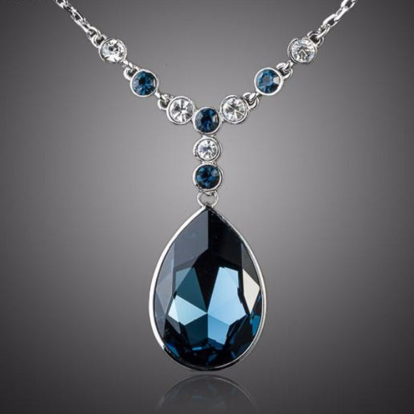 Big Blue Stellux Austrian Crystal Pendant White Gold Color Necklace