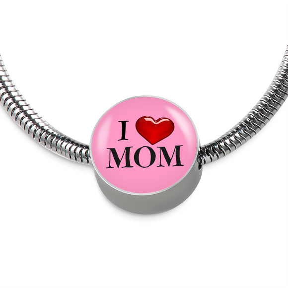 I Love Mom Stainless Steel Charm Bracelet
