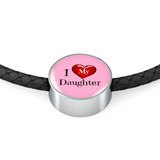 I Love My Daughter Leather Charm Bracelet