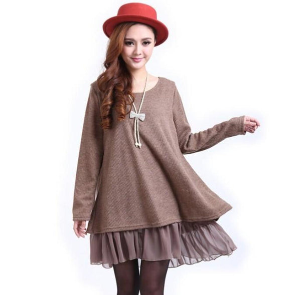 Layered Tunic Sweater Dress with Frill Trim