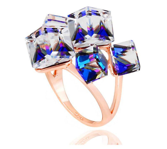Elegant Blue Austrian Crystal Ring