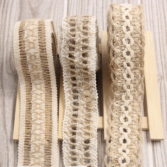 New Arrival! 2M/Lot 3 Style Ribbon Lace Trims Tape Roll Natural Jute Burlap Vintage Rustic For Home Garden Wedding Decoration