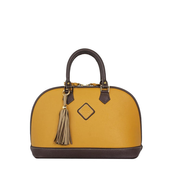 Antonia Leather Handbag- Goldenrod/Chocolate