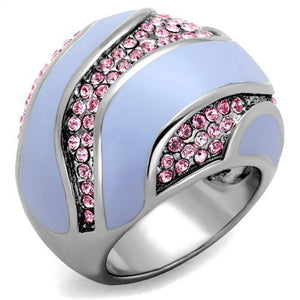 High Polished Stainless Steel Ring With Top Grade Crystal in Light Rose
