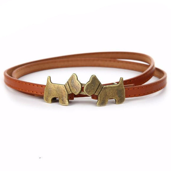 Vintage Retro Cute Dog Buckle Thin Faux Leather Belt