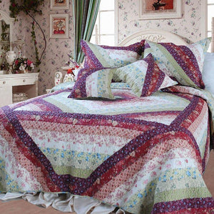 Floral Garden Party Bohemian Patchwork Quilted Bedspread Set
