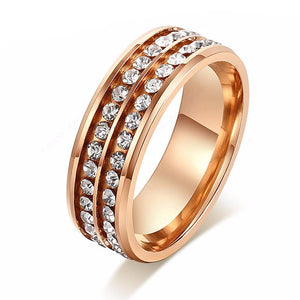Women's Stainless Steel Golden Double Row Ring