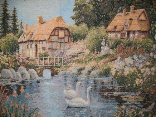 Village Scene French Country Elegant Tapestry Wall Hanging - 36