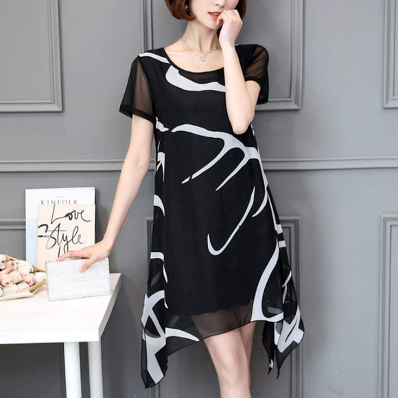 Women's Uneven Black and White Chiffon Dress