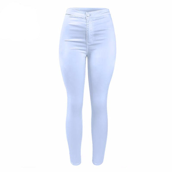 Stylish High Waist White Skinny Jeans