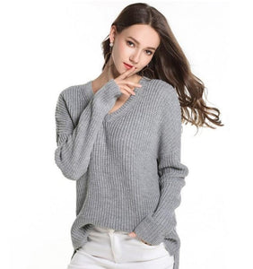 Womens Casual V Neck Sweater