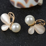 Fashion Gold Opal Earrings for Women Simulated Pearl