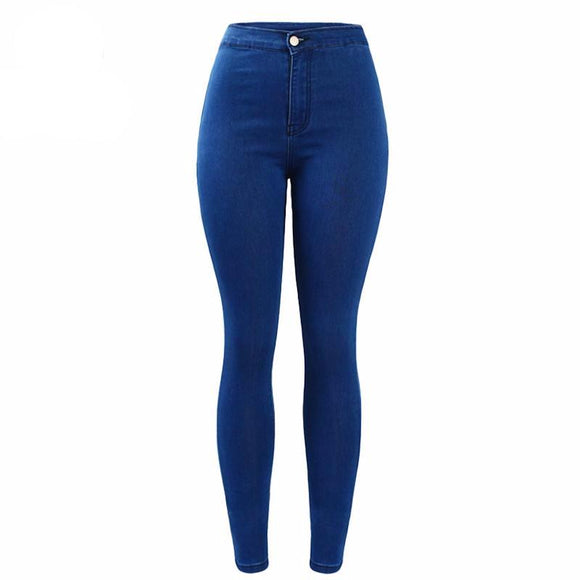 Stylish High Waist Deep Blue Skinny Jeans