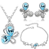 Gorgeous Austrian Crystal Butterfly Pendant Necklace Set