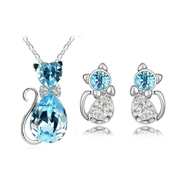 Adorable Austrian Crystal Cat Necklace Set