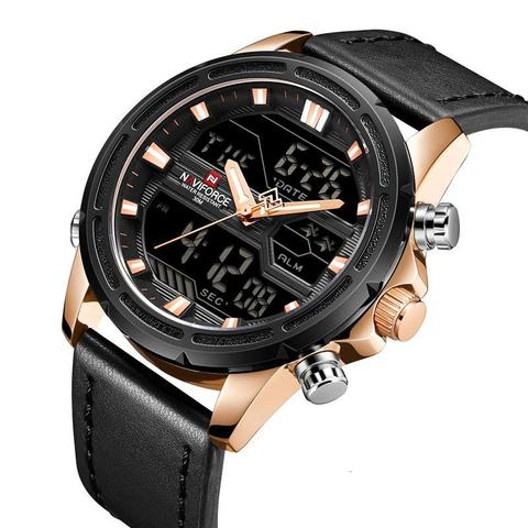 Mens Dual Movement Digital Leather Sports Watch
