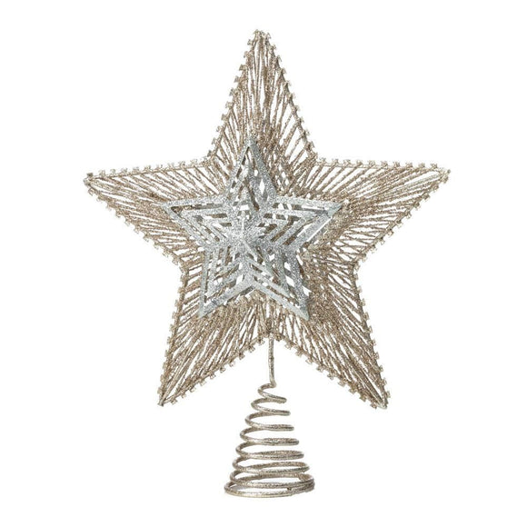 Gold & Silver Star Tree Topper