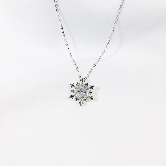 Creative Simple Snowflake Pendant Women Christmas Gift 925 Silver Necklace